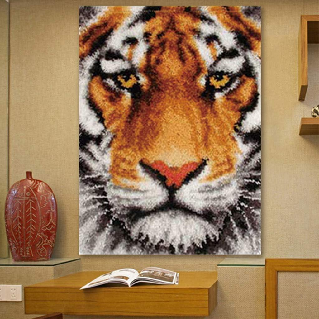 Hellery Kn/üpfteppich Kn/üpfkissen Kn/üpfpackung Kunsthandwerk Latch Hook Kit Rug 75x57cm Tiger//Wolf Tiger
