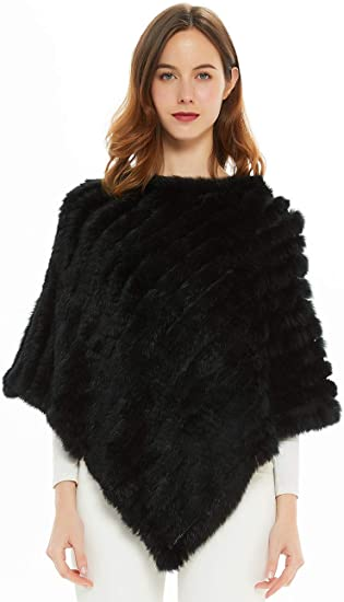 NEW LADIES WOMENS SOFT STYLISH KNITTED FAUX FUR PONCHO JUMPER SIZE FITS 8-20