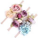 Baby Girls Headband Floral Crown Photo Props - Soft Elastic Design Set of 3