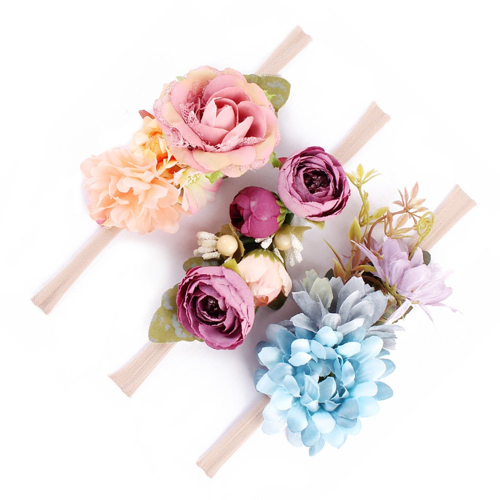 Flower Baby and Newborn Girls Headband Floral Crown Photo Props - Soft Elastic Design Set of 3 (C)