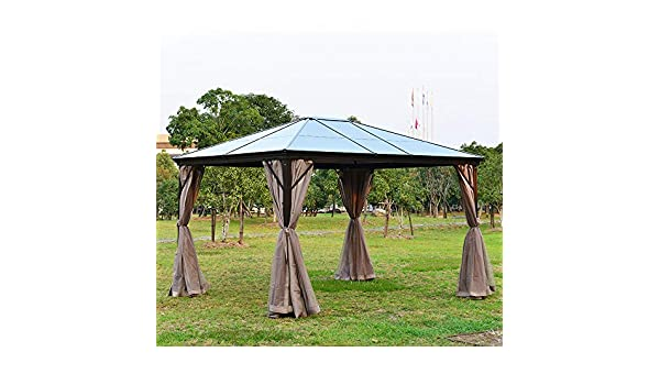 Volowoo - Cenador Permanente con Cortinas (3 x 4 m, policarbonato Ahumado, Resistente a la Intemperie): Amazon.es: Jardín