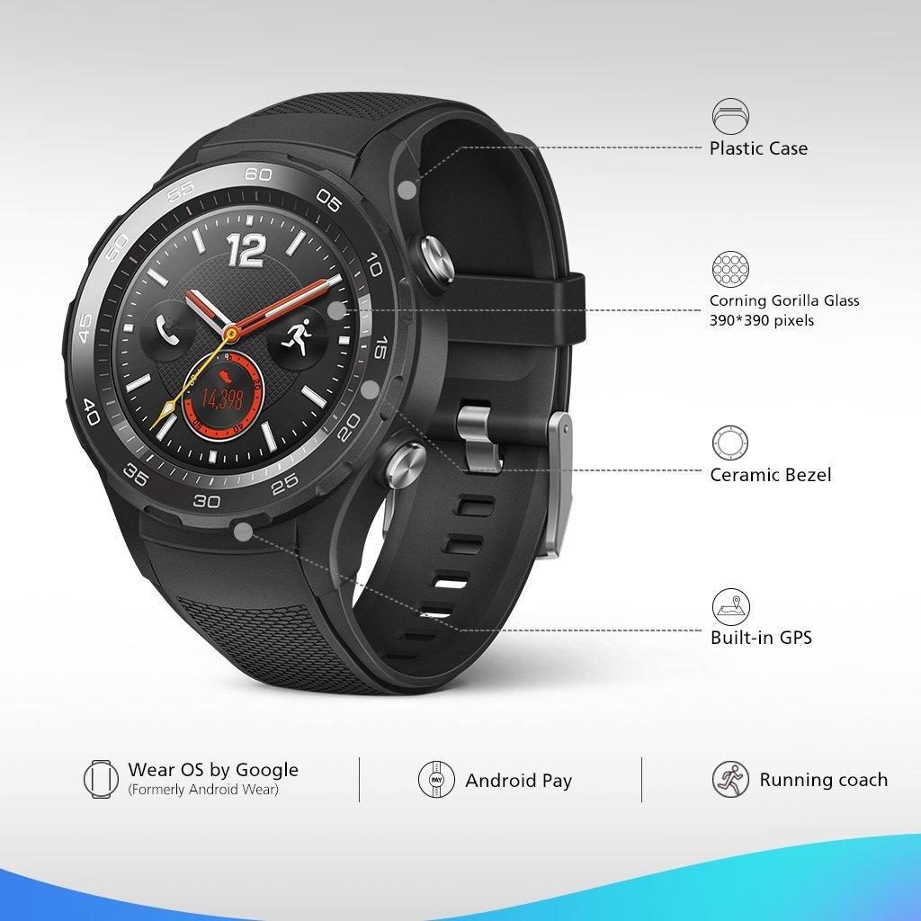 Huawei Watch 2 Sport Smartwatch - Ceramic Bezel - Carbon Black Strap (US Warranty) by Huawei (Image #3)