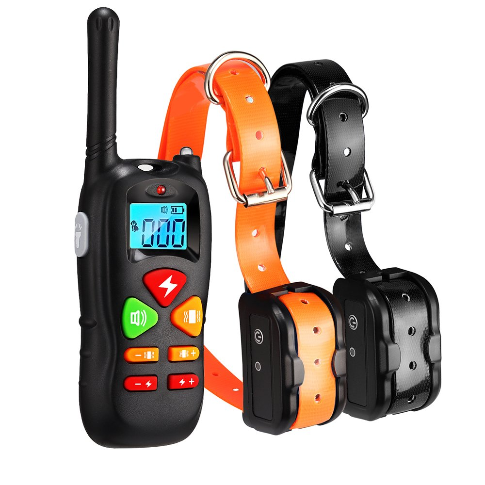 Wiscky Dog Training Collar for 2 Dogs Training Collars with Remote 1000ft Waterproof Rechargeable Dog Shock Collar for Dogs with Beep Vibration and Harmless Shock for Small Medium Large Dog