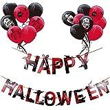 MAKFORT Happy Halloween Girlande Horror Schwarz Rot Latex Luftballons Halloween Zombie Party Deko 16pcs Ballons