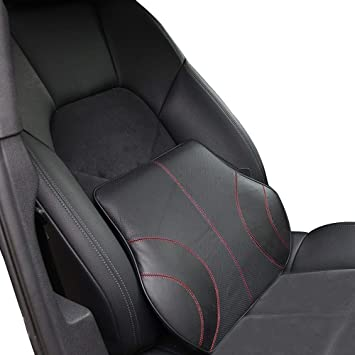 Koyoso Lumbar Support Cushion Leather Memory Foam Back Support Pillow For Car Black