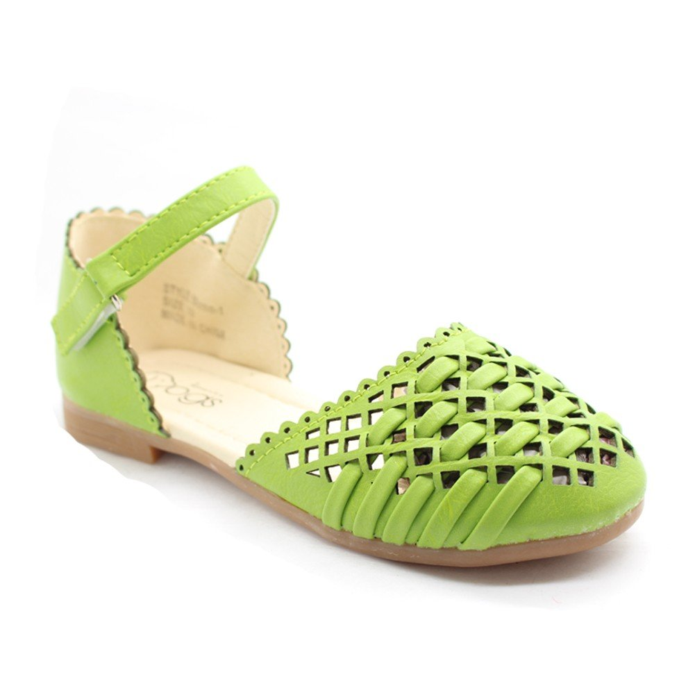 Little Girls Green Cut-Out Woven Texture Ankle Strap Dress Shoes 5-10 Toddler