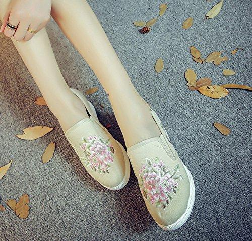 Avacostume Mujeres Flores Bordado AuHombrestar Cuña Casual Slip-on Zapatos Beige