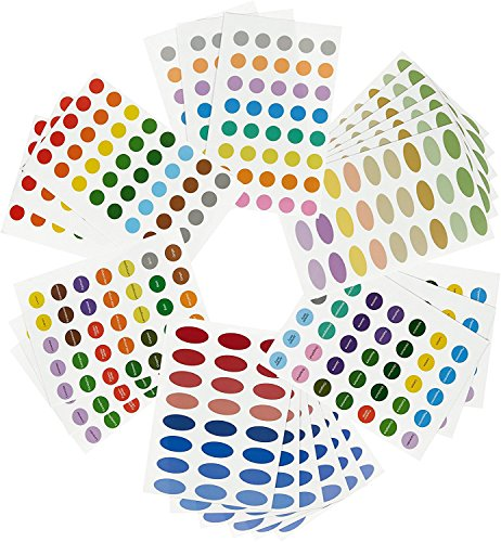 756 Essential Oil Labels / Aromatherapy Labels - Color Coded Bottle Labels (Includes Blank and Pre-Printed) - Small & Oval Shaped Labels -Multicolor - 24 Sheets of Stickers