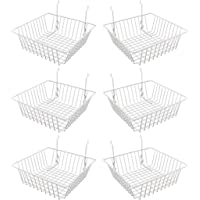 Econoco Multi Fit White Small Wire Basket for Slatwall, Grid of Pegboard, Commercial All Purpose Basket, (Pack of 6)