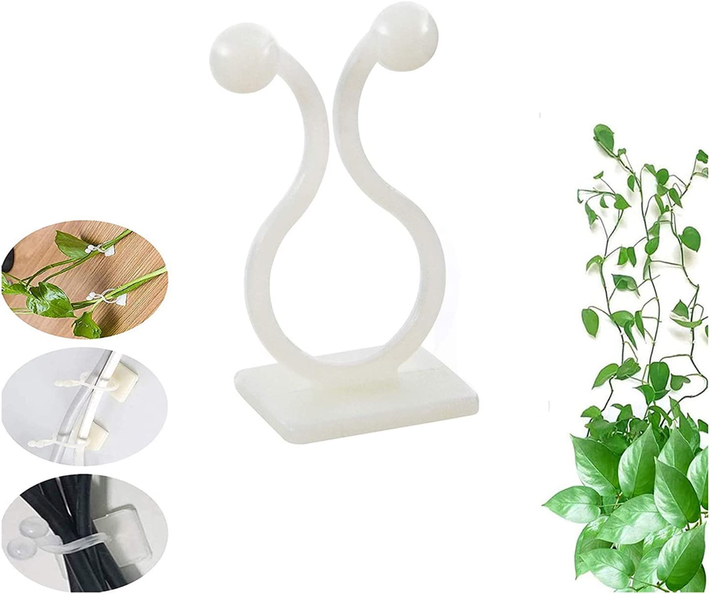 Nwvuop 100Pcs Plant Climbing Wall Fixer Garden Vegetable Plant/Support Clips Self-Adhesive Sticky Hook for Gardening Work White