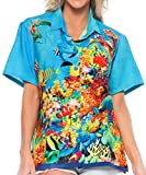 LA LEELA Women's Hawaiian Blouse Shirt Button Down Aloha Luau Shirt M Blue_X163