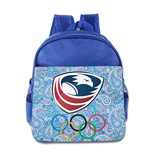 ANULRICA Boys Girls Toddler Rio 2016 Olympics USA Rugby Logo School Bag RoyalBlue