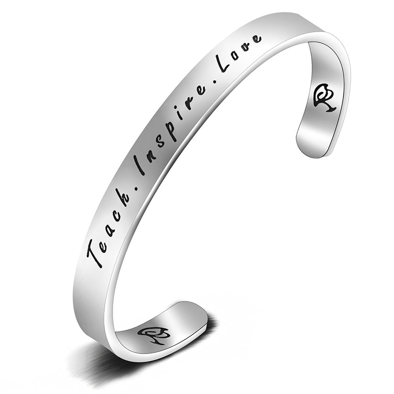MAOFAED Teacher Gift teach love Inspire Hand Stamped Bracelet Stainless Steel Cuff Inspiration Cuff