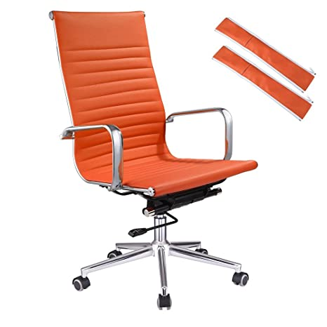 Magnificent Yescom Executive High Back Ribbed Pu Leather Swivel Office Computer Chair Orange Xl Ncnpc Chair Design For Home Ncnpcorg
