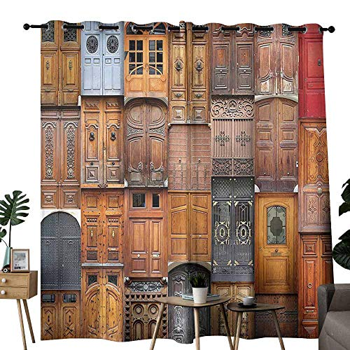 Rustic Decor Collection Bedroom Curtain Doors from Valencia Spain Daylight Mediterranean Residence Entering Old City Image Wedding Party Home Window Decoration W84 xL96 Peru Ivory Gray