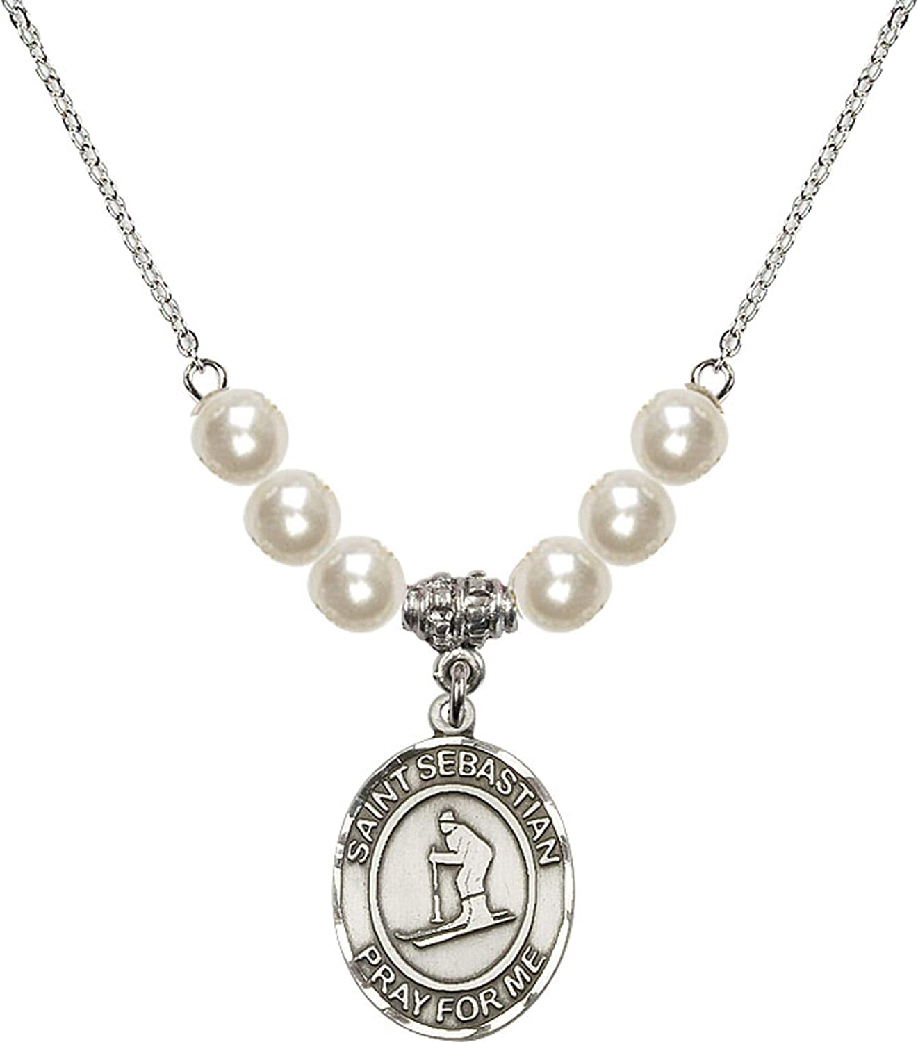 Bonyak Jewelry 18 Inch Rhodium Plated Necklace w// 6mm Faux-Pearl Beads and Saint Sebastian//Skiing Charm
