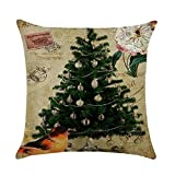 "TamPa Happy Christmas Santa Claus Throw Pillow Cushion Cover Home Decor Cotton Linen Square Pillowcase 18"" x 18"" (Style2)"