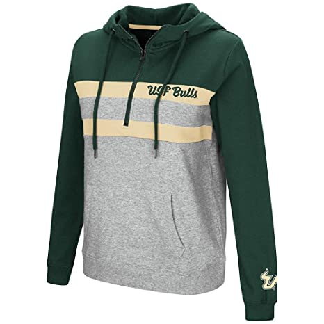 Colosseum Womens USF South Florida Bulls Quarter Zip Pull-Over Hoodie