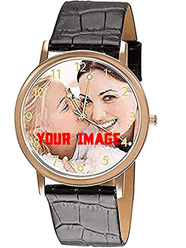 Hhi Elegant Personalized Custom Black Strap Slim Wrist Watch With Image Birthday Anniversary Gift For Husband Boyfriend