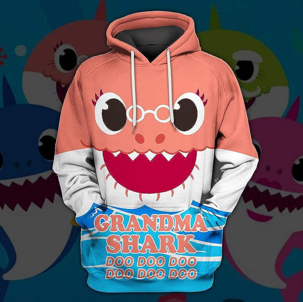 Grandma Shark T-Shirt Doo Doo Funny 3D Print Full I'm A Grandma Shark Who Happens to Cuss a Lot Sweatshirt Hoodie
