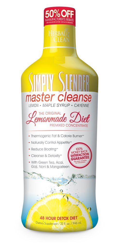Master Cleanse Lemonade Diet by Simply Slender  48 Hour Cleanse and Detox Diet with Maple Syrup, Cayenne and Lemon. Premix Concentrate, 32 fl oz by Simply Slender
