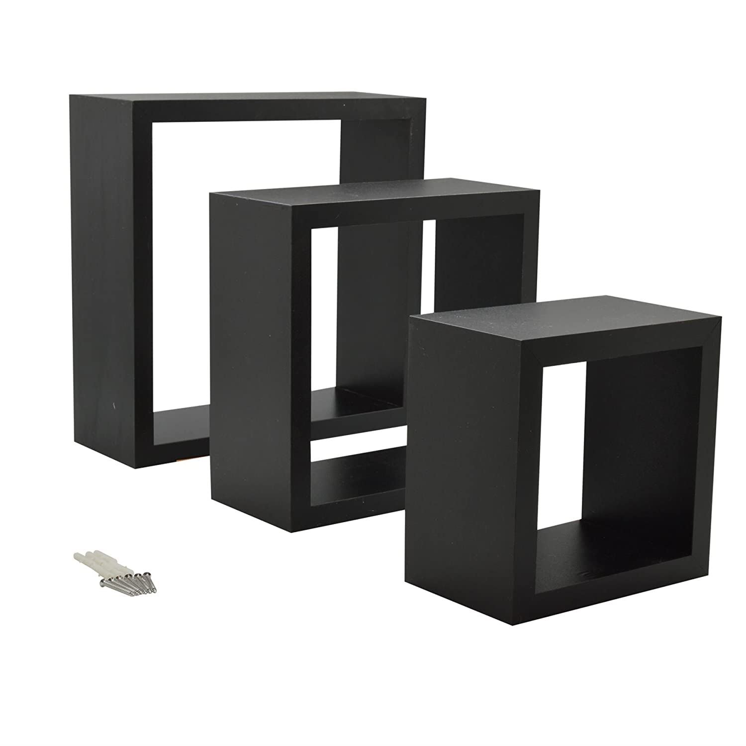 Harbour Housewares Black Square Floating Box Shelves - 3 Different Sizes - Set of 3
