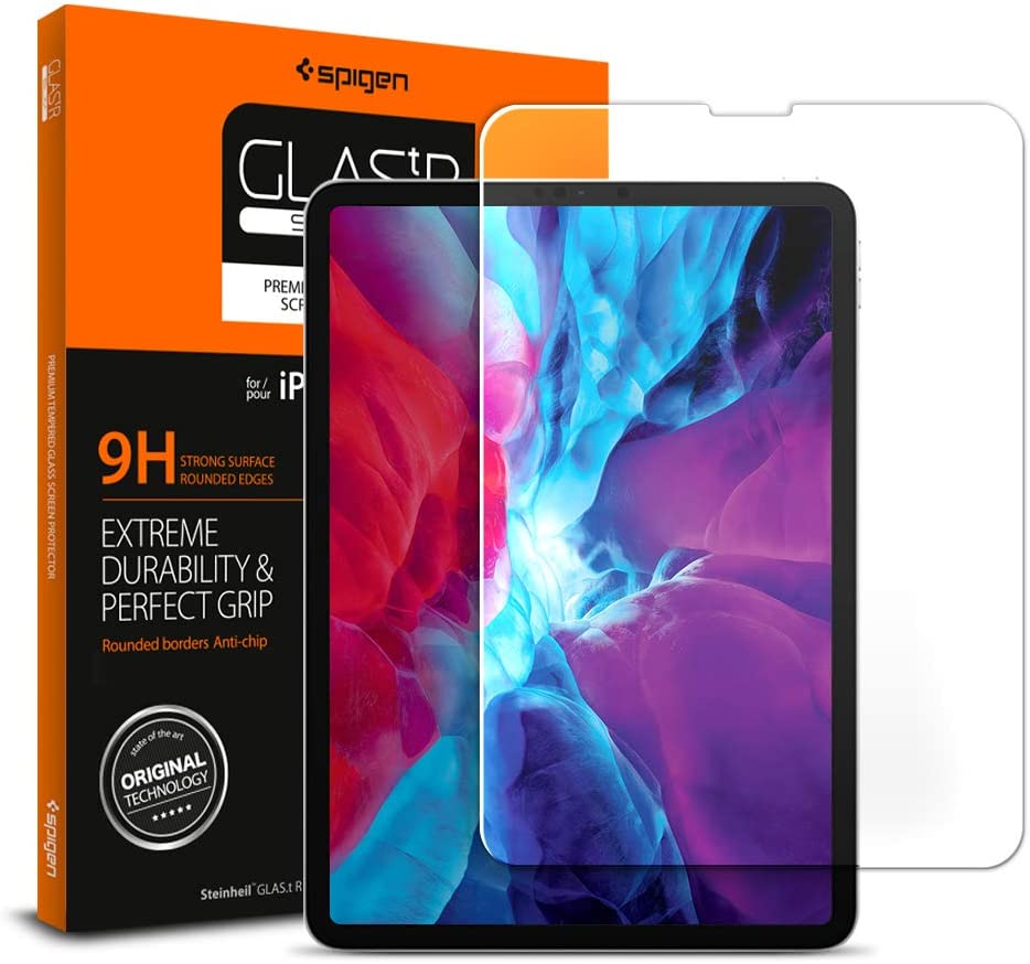 Spigen, 1 Pack, Protector Pantalla iPad Pro 12.9 (2020 / 2018), Vidrio Templado, Dureza 9H, Compatible con Fundas, Alta Definicion, Sin Burbujas, Anti-Arañazos, Anti-Huellas Dartilares (068GL25594)