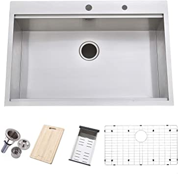 Friho 33 X 22 Inch 18 Gauge Topmount Drop In Single Bowl Basin Handmade Sus304 Stainless Steel Kitchen Sink Brushed Nickel Kitchen Sinks With Dish Grid Dish Drainer Cutting Board And Basket Strainer