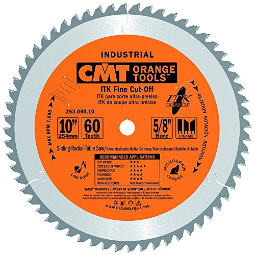 CMT 253.060.10 ITK Industrial Finish Sliding Compound Miter Saw Blade, 10-Inch x 60 Teeth 1FTG+2ATB Grind with 5/8-Inch Bore