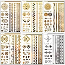 Lustria Metallic Tattoo Jewelry - Bracelets, Armlets & Anklet Flash Tattoos - Wanderlust Refill - 18 Sheets of 6 Designs …