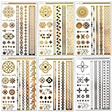 Lustria Metallic Tattoo Jewelry - Bracelets, Armlets & Anklet Flash Tattoos - Wanderlust Refill - 18 Sheets of 6 Designs …