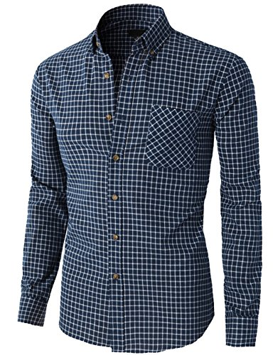 H2H Mens Boy's Casual Slim Fit Check Pattern Long Sleeve Button Down Dress Shirts NAVY US XS/Asia S (KMTSTL0396) Check Pattern Mens Dress Shirt