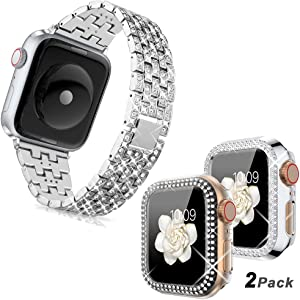 (2 Packs) Goton Compatible for Apple Watch Case 44mm + Goton Compatible for Apple Watch Band 44mm