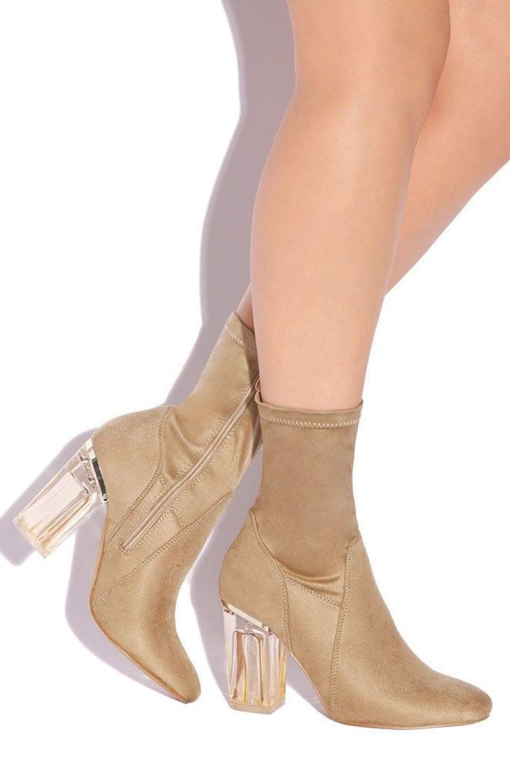 CAPE ROBBIN Fay-1 No Frontin Glass Heel Stretch Ankle Boot (10, Nude Suede)