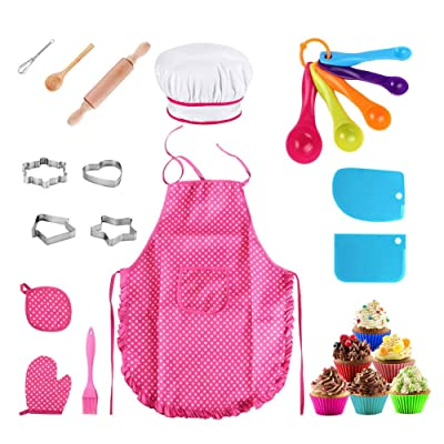 25Pcs Chef Set for Kids, Kitchen Cooking and Baking Kits, Dress Up Role Play Toys, Apron, Chef Hat, Oven Mitt, Wooden Spoon, Cookie Cutters, Silicone Cupcake Moulds for Little Girls Gift - Pink: Toys & Games