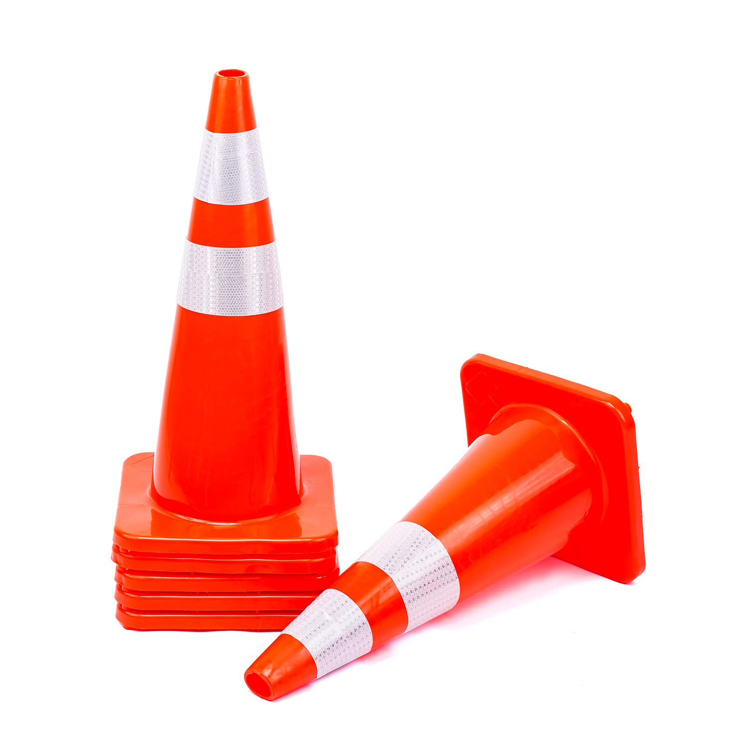 6 Cones 28'' Orange Traffic Safety Cone with Reflective Collar Road Packing PVC Plastic(Set of 6) by DOKIO
