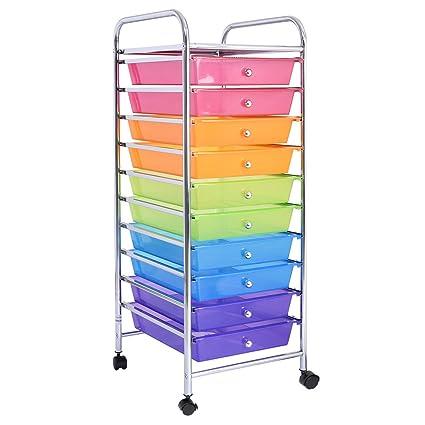 Amazon Rainbow 10 Drawer Rolling Storage Cart Scrapbook