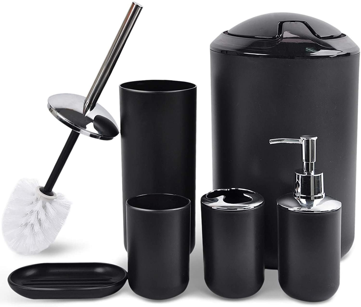 CERBIOR Bathroom Accessories Set 6 Piece Bath Ensemble Includes Soap Dispenser, Toothbrush Holder, Toothbrush Cup, Soap Dish for Decorative Countertop and Housewarming Gift, Black: Home & Kitchen