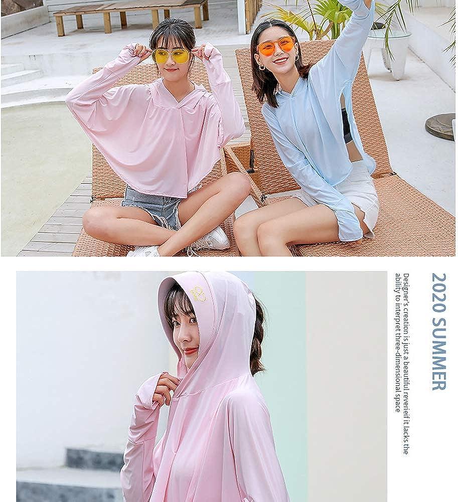 Fishing Girl Running Cycling Gift for Women UPF 50+ Sun-Proof Clothing w//Ear Hoop Mask Sun Hoodie UV Protection