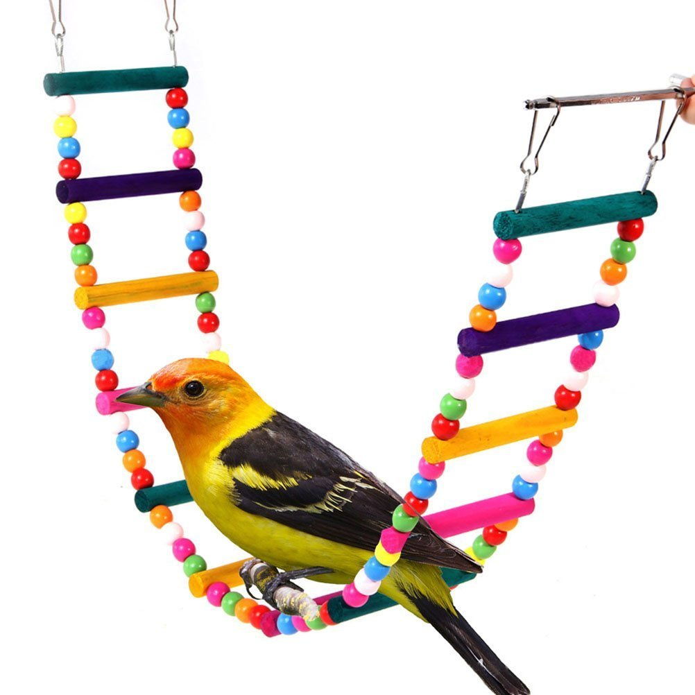 Chusea Deserve to Buy 12 Steps Colorful Wooden Climbing Bridge Ladder Toy for Parrots Pet Trainning