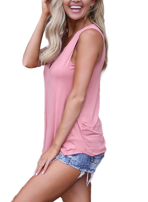 FARYSAYS Women's Summer Sleeveless V Neck Lace Up