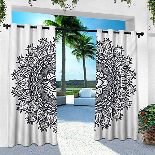 leinuoyi Occult, Outdoor Curtain Panels Set of 2, Vintage Symmetrical Circular Occult Pattern Knowledge of The Hidden Third Eye Providence, for Patio Furniture W96 x L96 Inch Grey
