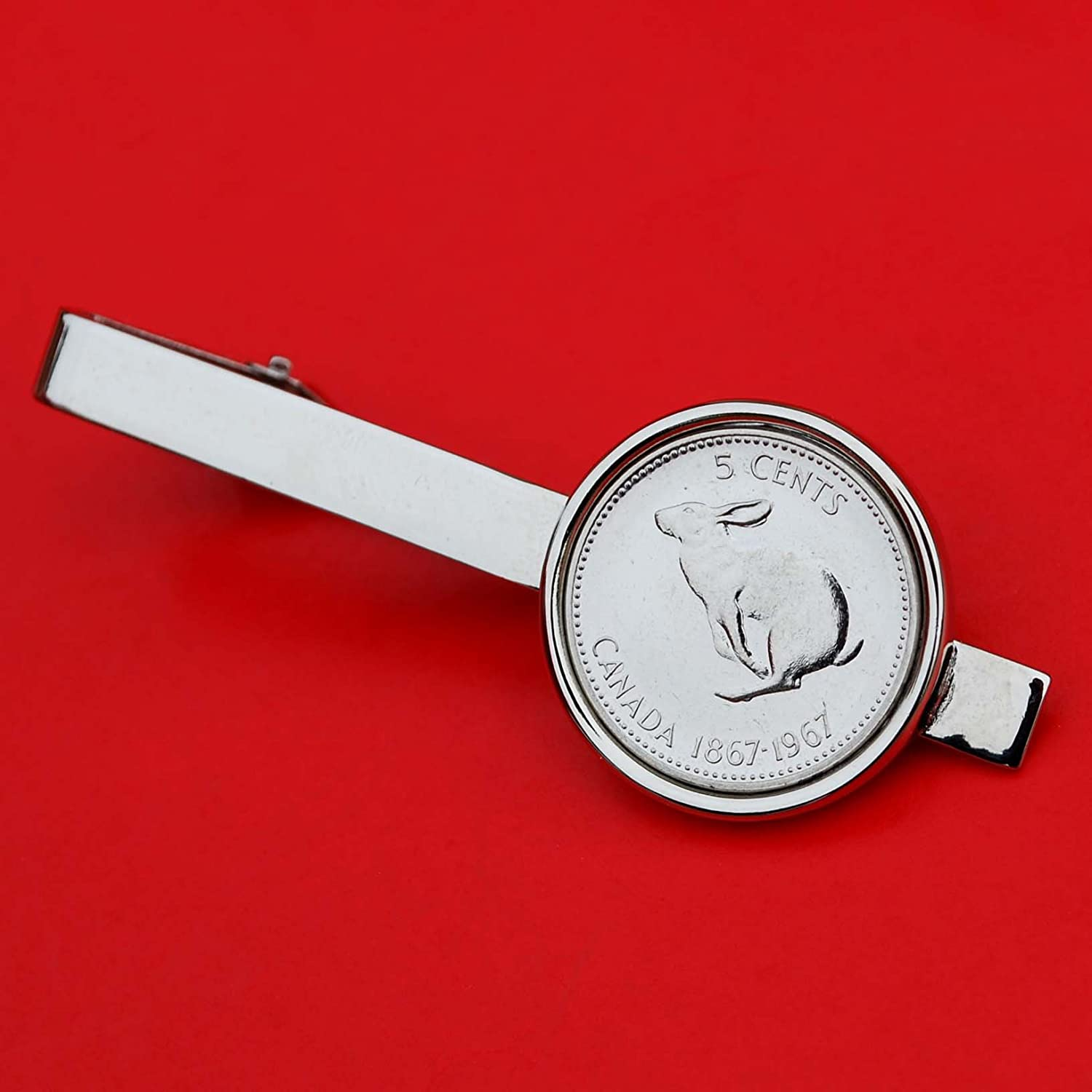 Canada 1967 Five Cents Gem BU Uncirculated Nickel Coin Silver Plated Tie Clip Clasp Bar - Bounding Snowshoe Rabbit