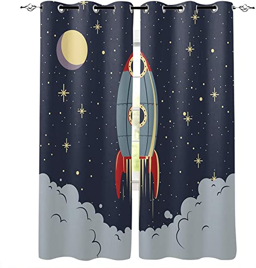 Window Curtain Cartoon Outer Space Rocket Home Decor Draperies 2 Panels Set for Living Room Bedroom Moon Night Launch and Exporing 52 96Inches 2