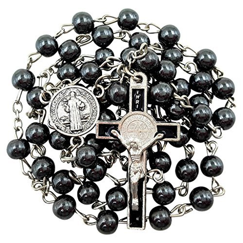 Silver Crucifix Hematite (BLESSED CATHOLIC ROSARY NECKLACE Black Hematite Beads Saint Benedict Medal & Cross Crucifix in Gift Box)
