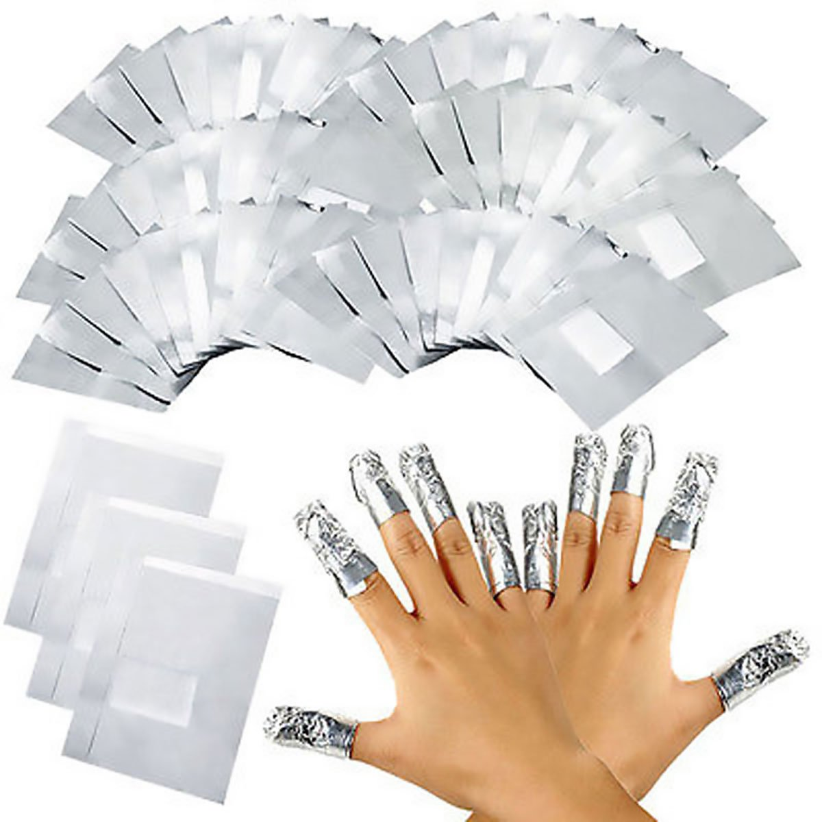 iiniim 100 Pcs Aluminium Foils Nail Wraps Acrylic Gel Polish Remover with Cotton Pad Fast Soak Off Nail Gel Polish Removing ' iiniim