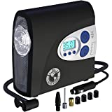 P.I. AUTO STORE Premium Air Compressor Tire Inflator for Automobiles and Bikes. Portable 12V DC Electric Car Tire Pump, Auto Shut Off, Digital Pressure Gauge, LED Light. New improved version