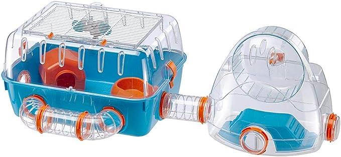 Ferplast Jaula para hámsteres Combi 2, para pequeños roedores, Plástico Robusto, Techo con Rejilla abrible, Tubos Gimnasio y Accesorios incluidos, 79,5 x 29,5 x h 26,3 cm Azul