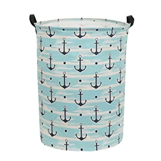 Sanjiaofen Large Storage Bins,Canvas Fabric Laundry Basket Collapsible Storage Baskets for Home,Office,Toy Organizer,Home Decor (Blue Anchor)