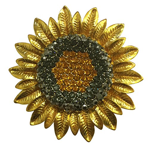 AINOW Luxury Brooch Pin Crystal Dancing Girl Lily Flower Jewelry for Gifts (Sunflower Orange) (Brooch Crystal Sunflower)